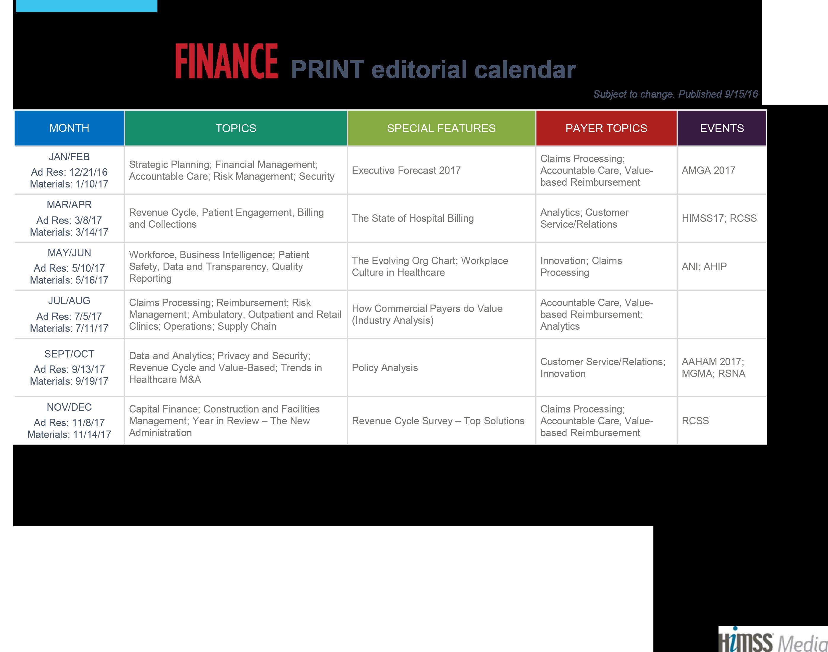 Healthcare Finance News 2016 Editorial Calendar,